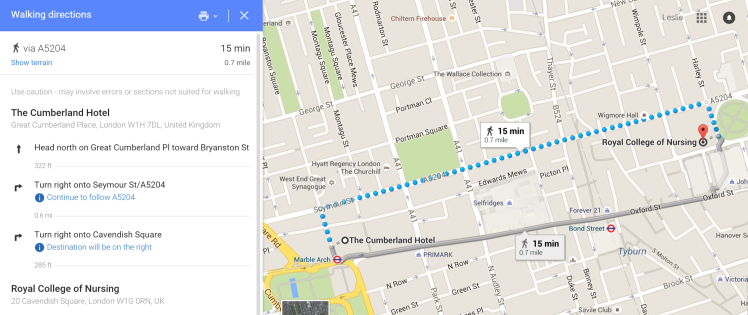 The Cumberland Hotel to Royal College of Nursing Google Maps